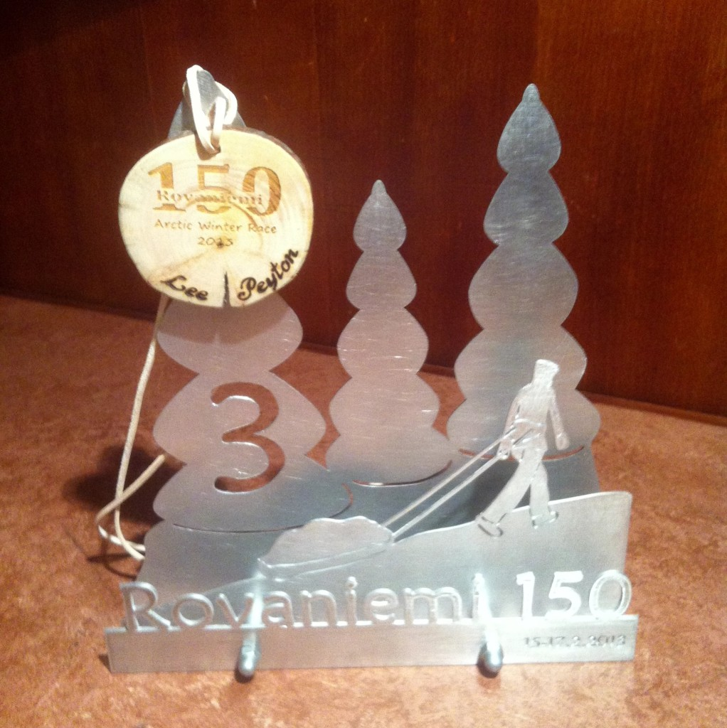Rovaniemi 150 3rd place trophy won by Lee Peyton in 2013.